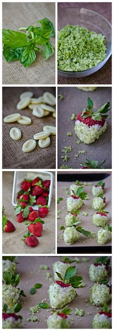 WHITE CHOCOLATE STRAWBERRIES WITH BASIL SUGAR