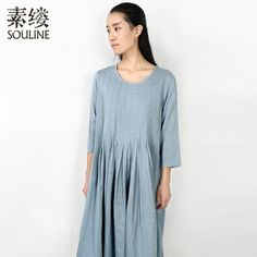 Souline Brand 2014 New Spring Women's 100% Cotton Loose  Pleated  O-neck Three Quarter Sleeve  Pullover Dress SL2761