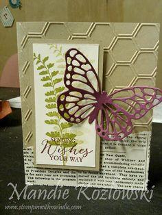January 2, 2015 Mandie Kozlowski: Stampin' Up! Butterfly Basics, Butterflies Thinlits Dies, Honeycomb TIEF