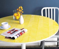 Bring some extra flavor to a breakfast area with a pattern that will keep them talking. Witness the magic a paint comb can bring by following our project How to Create a Herringbone-Pattern Tabletop.