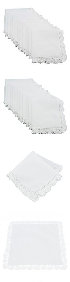Handkerchiefs 167906: Cotton Handkerchief With Crochet Lace Trim- Set Of 12 Pcs -> BUY IT NOW ONLY: $107.99 on eBay!