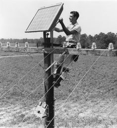 Installation of first solar panel, on rural Georgia phone pole, Oct. 4, 1955