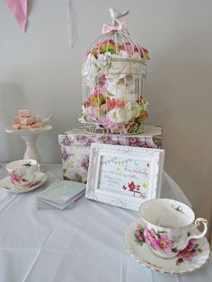 Very pretty decor at a Tea Party! See more party ideas at CatchMyParty.com! #partyideas #teaparty