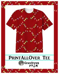 Festive Holiday Lights T-shirt Cotton T-shirt by #Gravityx9 #PAOM #PrintAllOverMe #ChristmasShirt #christmaswear #Christmaslights #Red #ilovexmas