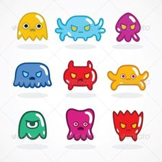Created: 3 December 13                    Graphics Files Included:   JPG Image #Vector EPS                   Layered:   No                   Minimum Adobe CS Version:   CS             Tags      80s #8bit #alien #android #background #cartoon #character #computer #cute #design #game #gummy #happy #icon #infographics #invader #legs #machine #monster #parts #presentation #report #retro #robotics #set #space #symbol #video #virus #white