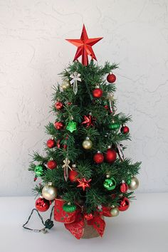 Miniature Christmas Tree Fully Decorated Tree 50 Color