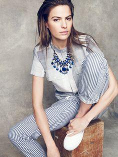 Tribal Souk™ lapis statement necklace worn with Screendoor plaid shirt + stripework drawstring pants at Madewell.