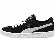 PUMA Suede Junior Sneaker (Little Kid/Big Kid) , Black/White, 7 M US Big Kid - Brought to you by Avarsha.com