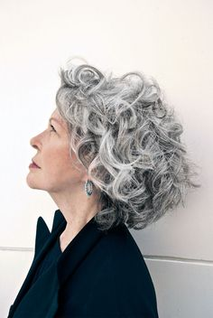 Short Curly Gray Hair for Women Over 50