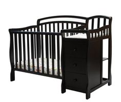 Dream On Me Casco 3 in 1 Mini Crib and Dressing Table Combo Black