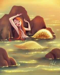 Mermaid in the Shallows Art Print by Dylan Bonner Fantasy Mermaids, Real Mermaids, Mermaids And Mermen, Fantasy Creatures, Mythical Creatures, Sea Creatures, Siren Mermaid, Mermaid Cove, Mermaid Artwork