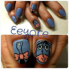 Chris was booked in yesterday and wanted some nail art that she's been after for ages. She had this custom colour mixed using and then the Eeyore heads and tails were painted using acrylic paint. Funky Nail Art, Funky Nails, Cute Nails, Pretty Nails, Disney Nail Designs, Cute Nail Designs, Hair And Nails, My Nails, Mary Janes