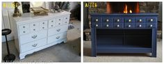 Our very favorite piece in the room was the Navy buffet.  Something we love to do is to look at a piece of furniture and think of what we could turn it into.  The minute I saw this dresser, I envisioned it as a fabulous buffet! When you're working with thrifted pieces, don't be afraid to try something a wee bit daring, the worst thing you can do is ruin it and have to head back to the thrift store to try again!