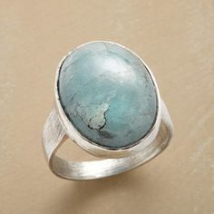 SPINDRIFT RING -- Aquamarine, the color of sea spray, conjures ocean worlds in a sterling silver ring handmade exclusively for Sundance. Whole sizes 5 to 10.