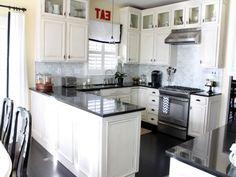 tile backsplash with black cuntertop ideas | white cabinet black