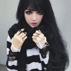 kina shen at DuckDuckGo Emo Fashion, Gothic Fashion, Kina Shen, Bob Pixie Cut, Chica Dark, Balayage Ombré, Haircut For Older Women, Goth Beauty, Scene Hair