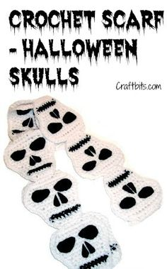 *Free Pattern:  Crochet A Gothic Halloween Skull Scarf