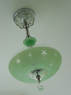 Made with a vintage light shade. C Art Deco Ceiling Light Fixture Chandelier Jadeite Antique Fire King Lamp Art Deco Lighting, Vintage Lighting, Vintage Light Fixtures, Vintage Chandelier, Art Nouveau, Vintage Decor, Vintage Green, Ceiling Fixtures, Ceiling Lights