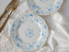 2 Rare Foley Turquoise Blue China Plates made by English pottery, Wileman & Co - the stamp indicates that they were made between 1894 and 1910 (see the China Plates, Blue Plates, English Pottery, Blue China, Vintage China, Vintage Items, Stamp, Turquoise, Pattern