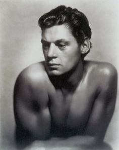 Johnny Weissmuller in a gelatin print of a photograph by George Hurrell. 1932  Olympic swimmer who played Tarzan.