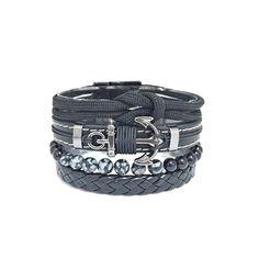 Kit 4 Pulseiras Masculinas Couro Cordao Pedras Onix Ancora mens bracelets fashion style cocar brasil