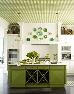 Green and white. Very interesting look!  Love the ceiling <3