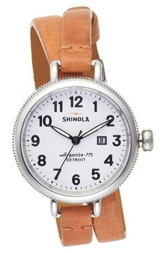 Free shipping and returns on Shinola 'The Birdy' Double Wrap Leather Strap Watch, 34mm at Nordstrom.com. A round, cleanly styled watch on a slender, double-wrapped leather strap offers classic American style made in Detroit by craftsmen. The innovative 50-part quartz movement made from Swiss parts powers three-hand time and the date beneath a deftly curved sapphire crystal face.