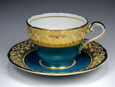 Antique Aynsley Tea Cup and Saucer, Peacock Blue with Heavy Gold Gilt, English Bone China, Fancy Gold Teacup, Tea Party, Vintage 1940s 1950s by young lim