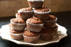 plum puree muffins...used spelt and coconut flour, coconut sugar, olive oil and 3 small eggs instead. Made 24.