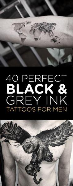 40 Perfect Black & Grey Ink Tattoos for Men   TattooBlend
