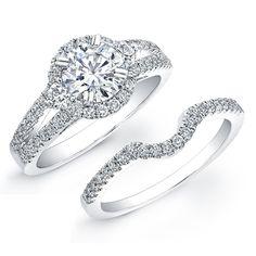 4ca22835ac4 18K WHITE GOLD DIAMOND PAVE SPLIT SHANK BRIDAL RING SET