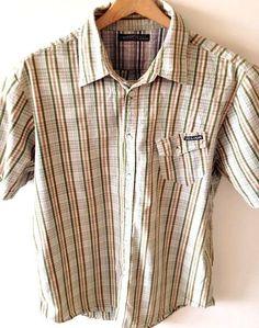 VOLCOM Shirt Sz Large Mens Plaid Button Front Short Sleeve Green Tan 100% Cotton #Volcom #ButtonFront