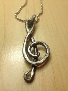 Items similar to Forged Steel Treble Clef Pendant on Etsy Metal Projects, Metal Crafts, Welding Projects, Copper Jewelry, Wire Jewelry, Blacksmith Forge, La Forge, Blacksmith Projects, Forging Metal