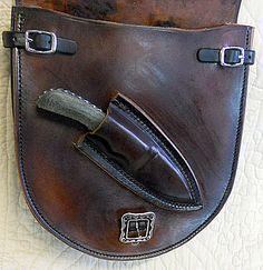 Custom Saddlebags with Knife Sheath, Custom Knife, Pistol Holster Knife Holster, Pistol Holster, Leather Holster, Leather Tooling, Leather Bag, Leather Quiver, Leather Apron, Holsters, Blacksmithing Knives