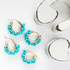 即納/送料込14kgf*Turquoise wrapped pierced earring / earring