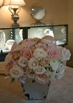 ivory, cream and blush pink roses with white phalaenopsis orchid accent