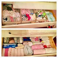 Organizing the baby dresser using the KonMari method #KonMarimethod #konmari #ilike #organizing #babydresser
