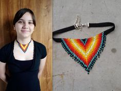 Seed bead Jewelry in Native American style by UMEUM Beaded Choker Necklace, Rose Necklace, Fringe Necklace, Seed Bead Necklace, Beaded Necklaces, Beaded Bracelet, Seed Beads, Beaded Jewelry Patterns, Beading Patterns