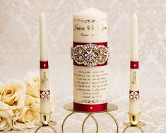 Deep Red and Gold Wedding Unity Candle Set, Personalized Unity Candles for Wedding Ceremony Memory Candle Wedding, Wedding Unity Candles, Pillar Candles, Champagne Wedding, Gold Wedding, Wedding Ceremony, Centerpiece Christmas, Long Burning Candles, Wedding Memorial