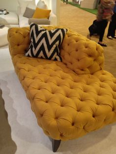 Sexy tufted chaise by Nathan Anthony in gold Interhall IH409