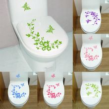 Free Shipping New Butterfly Flower bathroom wall stickers home decoration wall decals for toilet decorative sticker(China (Mainland))