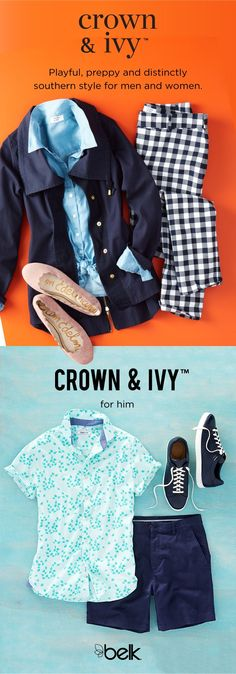 Fall for bold color, preppy prints and Southern charm of Crown & Ivy™ for women and layer on the style with tops, tees, cardigans, pants, crops and so much more from our favorite exclusive brand. Slip into the new line of Crown & Ivy™ shoes: fun flats, tassel heels and spring-ready sandals. Our new line for men includes relaxed button-downs, suit separates with stretch, shorts, swimwear and more in colors and prints with lots of pop. Shop everything Crown & Ivy™ in stores and at belk.com.