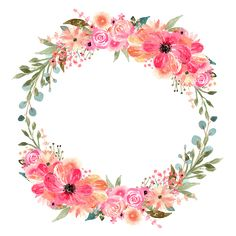 Floral design Wreath Watercolor painting Jennifer Crafts - watercolor wreaths transprent P Floral Wreath Watercolor, Watercolor Flowers, Watercolor Painting, Flower Backgrounds, Flower Wallpaper, Flower Circle, Flower Frame Png, Wedding Stage Decorations, Floral Border