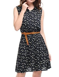 Find Allegra K Women's Half Placket Above Knee Printed Belted Sleeveless Dress online. Shop the latest collection of Allegra K Women's Half Placket Above Knee Printed Belted Sleeveless Dress from the popular stores - all in one Mini Shirt Dress, Cap Dress, Belted Shirt Dress, Sleeveless Shirt, Plus Size Maxi Dresses, Short Sleeve Dresses, Mini Dresses, Casual Dresses, Shift Dresses