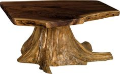 Amish Rustic Living Coffee Table with Stump Base