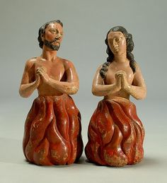 """""""Dos Animas Solas"""" – Hand-carved polychrome painted couple, 19th century. Based on Roman Catholic tradition, the Anima Sola, or Lonely Soul, is an image depicting a soul in purgatory, popular in Latin America, as well as much of Italy and Spain."""