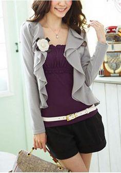 Women's chiffon wave lapel splice long sleeve cotton pure color slim fit cardigan outwear