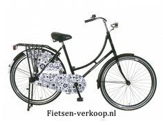 Omafiets Barok Zwart - Wit 24 Inch   bestel gemakkelijk online op Fietsen-verkoop.nl