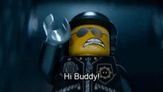 """Good Cop / Bad Cop from The LEGO Movie (gif) """"Hi Buddy!"""" 