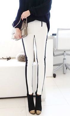 Black White Slim Leggings